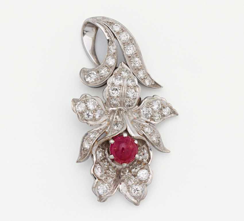 Ruby and diamond pendant - photo 1