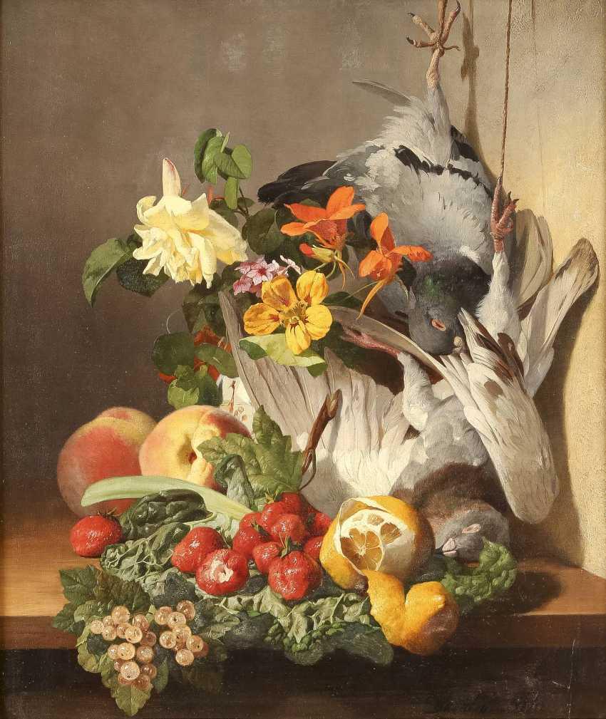 DAVID EMIL JOSEPH DE NOTER 1825 Gent - 1892 Saint Eugène Bologhine Feines Blumen- und Früchtestillleben mit zwei toten Täubchen - photo 1