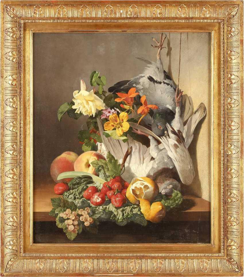 DAVID EMIL JOSEPH DE NOTER 1825 Gent - 1892 Saint Eugène Bologhine Feines Blumen- und Früchtestillleben mit zwei toten Täubchen - photo 2