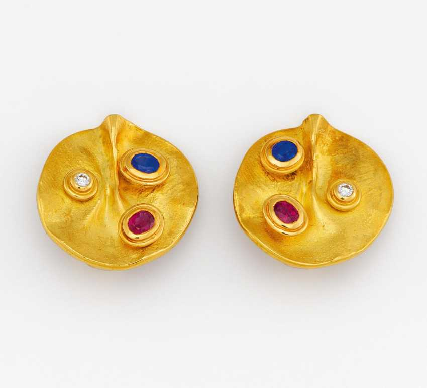 Color stone diamond clip earrings - photo 1