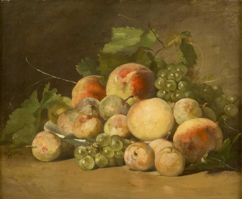 CLARA VON SIVERS 1854 Pinneberg - 1924 Berlin Zwei Früchtestilleben mit Trauben, Äpfeln, Birnen und Pfirsichen - photo 1