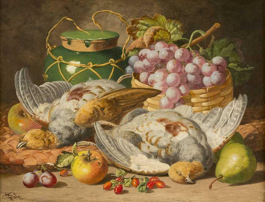CHARLES THOMAS BALE Tätig 1866-1895. Gemäldepaar: Früchtestillleben mit Trauben, Honigtopf (1) und toten Tauben (2) - photo 1
