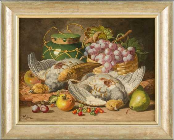 CHARLES THOMAS BALE Tätig 1866-1895. Gemäldepaar: Früchtestillleben mit Trauben, Honigtopf (1) und toten Tauben (2) - photo 2