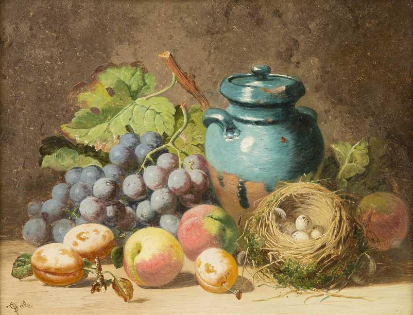CHARLES THOMAS BALE Tätig 1866-1895. Gemäldepaar: Früchtestillleben mit Trauben, Honigtopf (1) und toten Tauben (2) - photo 3
