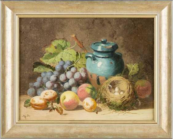 CHARLES THOMAS BALE Tätig 1866-1895. Gemäldepaar: Früchtestillleben mit Trauben, Honigtopf (1) und toten Tauben (2) - photo 4