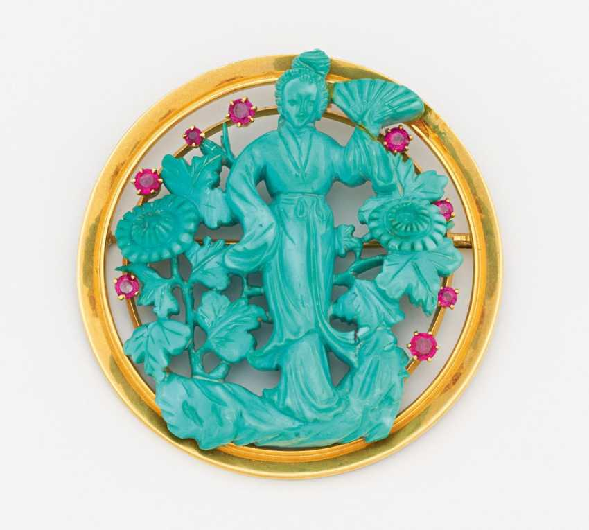 Turquoise brooch - photo 1