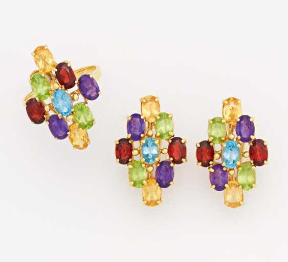 Color stone earrings and ring - photo 1