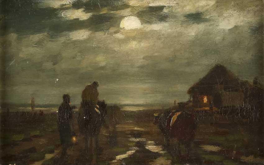 NORDDEUTSCHER MALER Tätig 1. H. 20. Jahrhundert Aufbruch bei Mondschein - photo 1