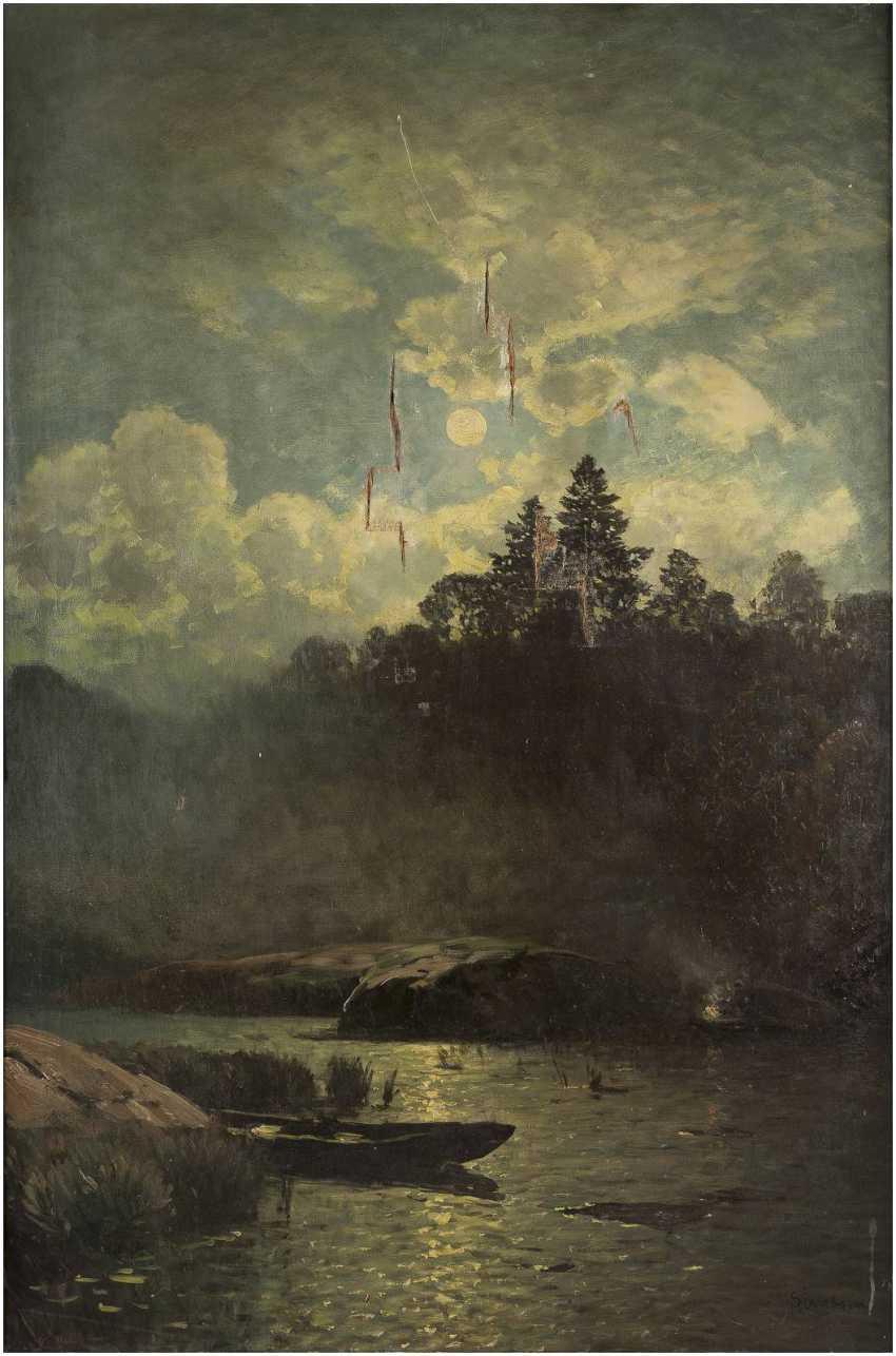 SOPHUS JACOBSEN 1833 Frederikshald - 1912 Düsseldorf Flusslandschaft im Mondschein - фото 1