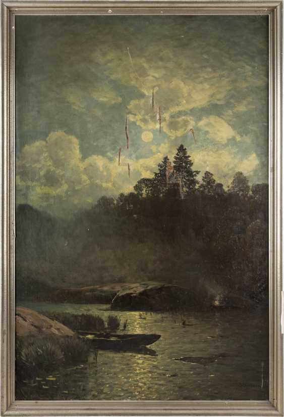 SOPHUS JACOBSEN 1833 Frederikshald - 1912 Düsseldorf Flusslandschaft im Mondschein - фото 2