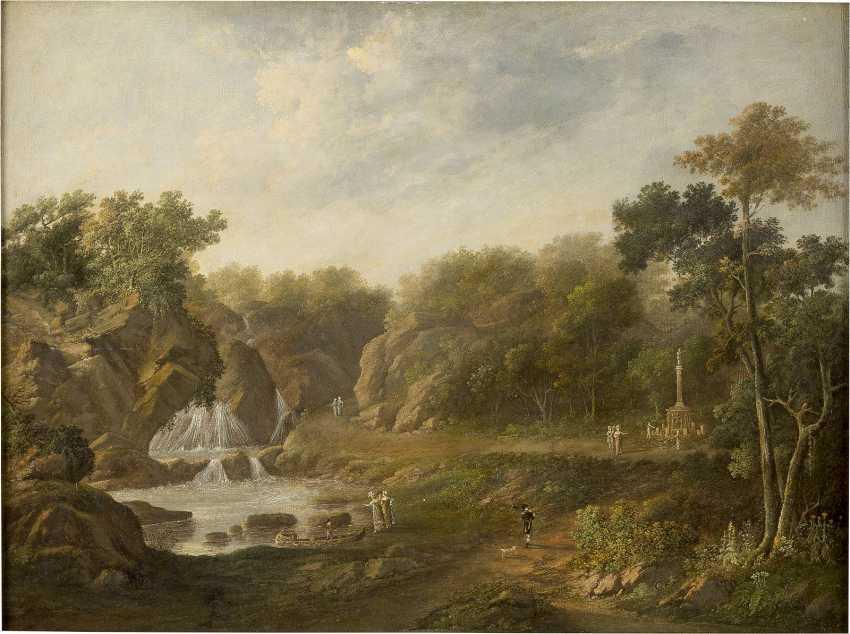LUDWIG HESS (ATTR.) 1760 Zürich - 1800 Ebenda KLASSIZISTISCHE IDEALLANDSCHAFT MIT WASSERFALL - photo 1