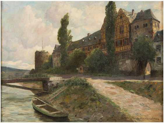 PAUL PÜTZHOFEN-HAMBÜCHEN 1879 - 1939 (tätig in Düsseldorf) Ansicht einer Stadt an Lahn oder Mosel mit Turmruine - photo 1
