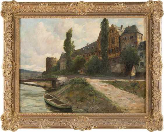 PAUL PÜTZHOFEN-HAMBÜCHEN 1879 - 1939 (tätig in Düsseldorf) Ansicht einer Stadt an Lahn oder Mosel mit Turmruine - photo 2