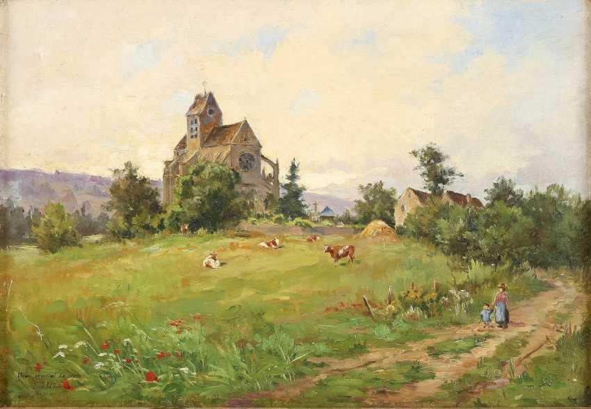 LOUIS AUGUSTE LAINÉ 1868 Triel - ? (tätig in Frankreich) Dorflandschaft mit kleiner Kathedrale - photo 1