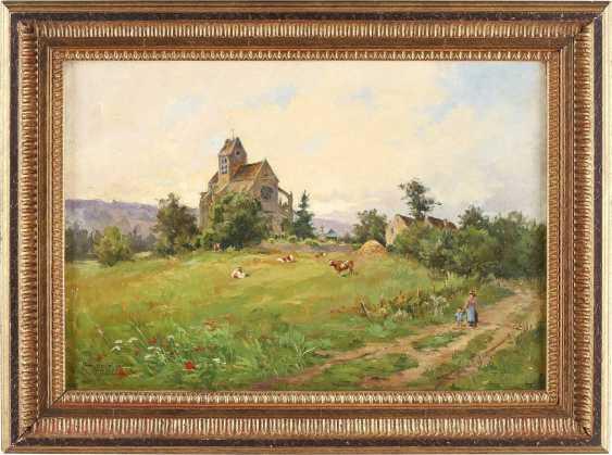 LOUIS AUGUSTE LAINÉ 1868 Triel - ? (tätig in Frankreich) Dorflandschaft mit kleiner Kathedrale - photo 2