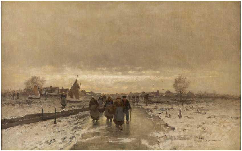 JOHANN JUNGBLUT 1860 Saarburg - 1912 Düsseldorf Holländische Bauern in Winterlandschaft - фото 1