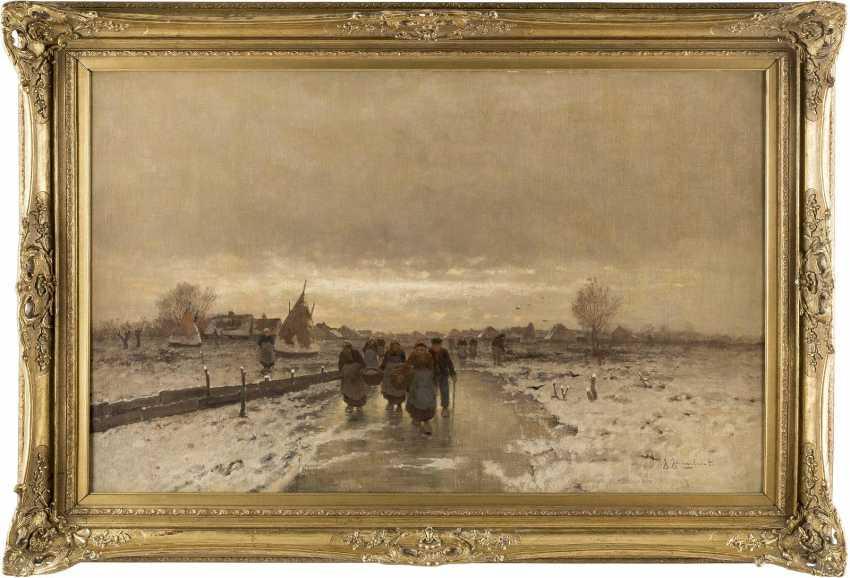 JOHANN JUNGBLUT 1860 Saarburg - 1912 Düsseldorf Holländische Bauern in Winterlandschaft - фото 2