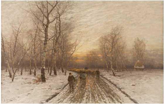 JOHANN JUNGBLUT 1860 Saarburg - 1912 Düsseldorf Abendstimmung im Winterwald - photo 1