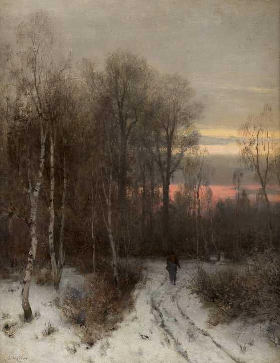 SOPHUS JACOBSEN 1833 Frederikshald - 1912 Düsseldorf Wanderer im winterlichen Birkenwald am Abend - photo 1