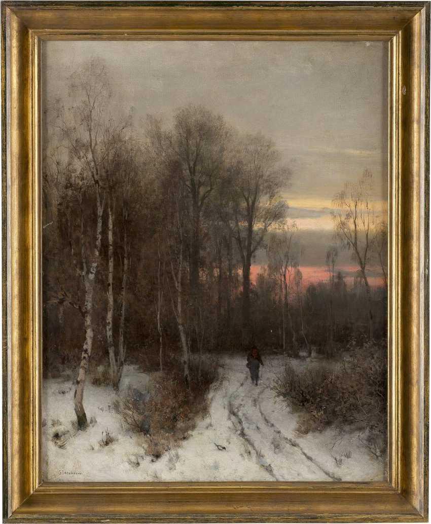 SOPHUS JACOBSEN 1833 Frederikshald - 1912 Düsseldorf Wanderer im winterlichen Birkenwald am Abend - photo 2