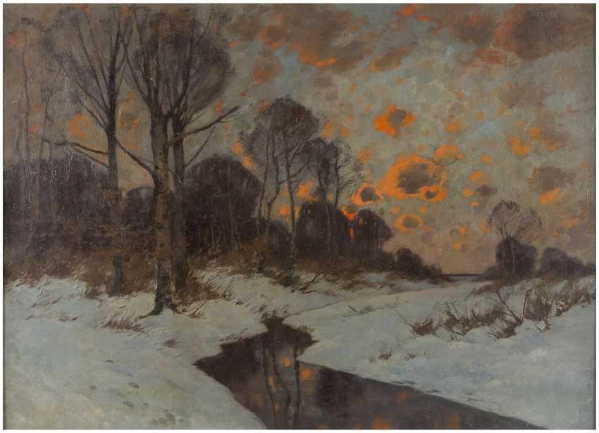 KARL (CARL) KÜSTNER 1861 Guntersblum - 1934 München Roter Abendhimmel über Winterlandschaft - фото 1
