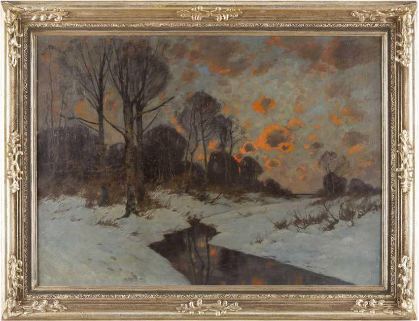 KARL (CARL) KÜSTNER 1861 Guntersblum - 1934 München Roter Abendhimmel über Winterlandschaft - фото 2