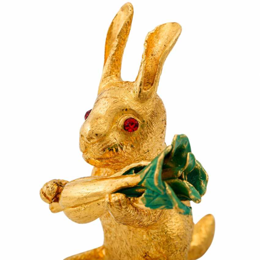 Decorative bunny made of fine gold, - photo 5