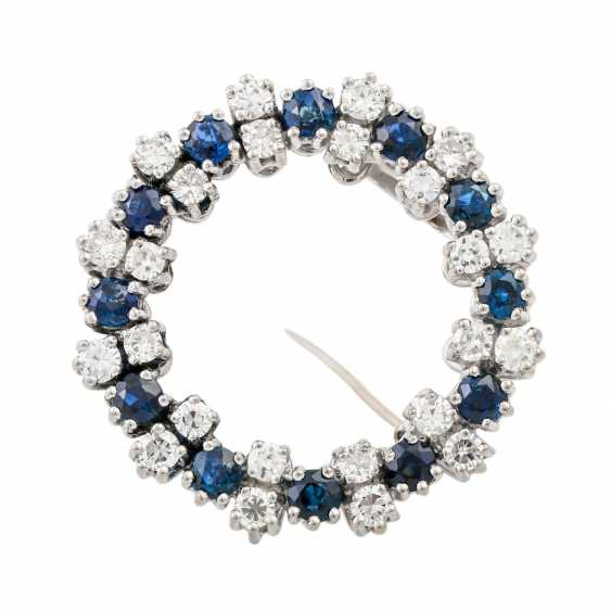 Wreath brooch with sapphires and diamonds - photo 1