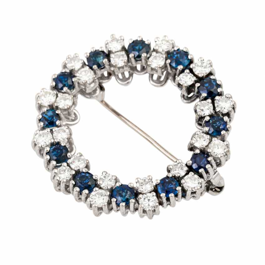 Wreath brooch with sapphires and diamonds - photo 4