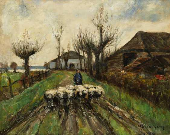 LIESEGANG, HELMUT 1858 Duisburg - Leipzig 1945 Schäfer mit seiner Herde vor dem Hof - photo 1