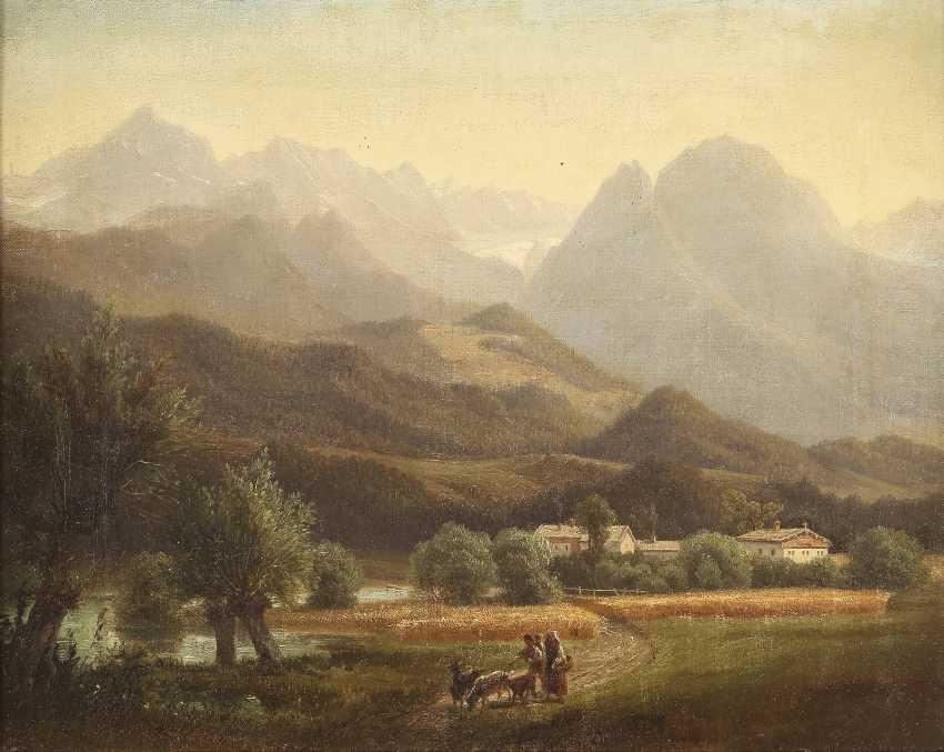 SÜDDEUTSCHER LANDSCHAFTSMALER Tätig 2. Hälfte 19. Jahrhundert Ziegenhirten vor Alpenpanorama - photo 1