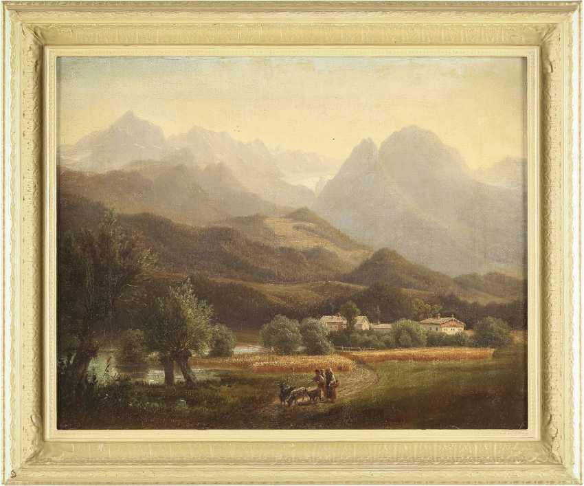 SÜDDEUTSCHER LANDSCHAFTSMALER Tätig 2. Hälfte 19. Jahrhundert Ziegenhirten vor Alpenpanorama - photo 2