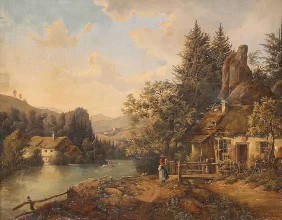 JOHANN JOSEPH RAUCH c. 1805 Wien - c. 1868 Gebirgslandschaft mit Hütten - photo 1