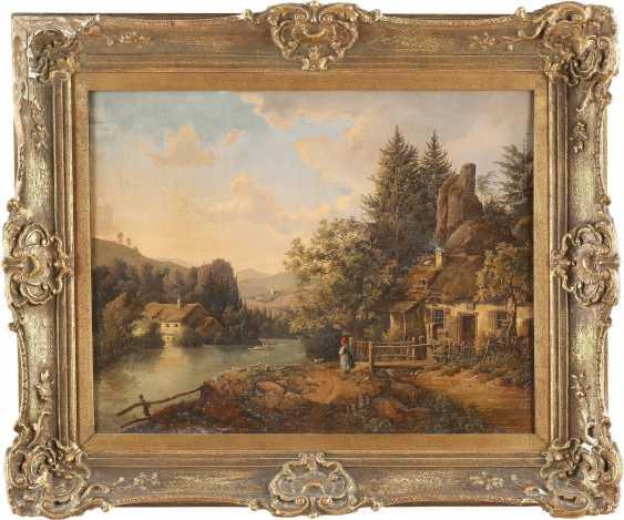 JOHANN JOSEPH RAUCH c. 1805 Wien - c. 1868 Gebirgslandschaft mit Hütten - photo 2