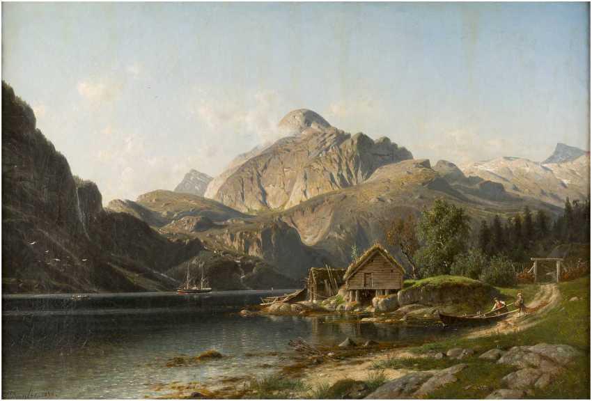 JOHANNES BARTHOLOMÄUS DUNTZE 1823-1895 NORWEGISCHER FJORD (DALSFJORD) MIT STAFFAGE - photo 1