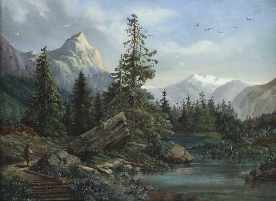 MONOGRAMMIST OA Tätig Mitte 19. Jahrhundert Wanderer in Gebirgslandschaft mit Bachlauf - photo 1