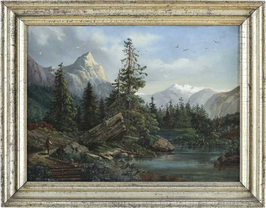 MONOGRAMMIST OA Tätig Mitte 19. Jahrhundert Wanderer in Gebirgslandschaft mit Bachlauf - photo 2