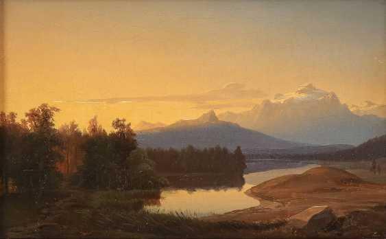 SÜDDEUTSCHER LANDSCHAFTSMALER Tätig um 1850 Stiller Bergsee bei Sonnenuntergang - photo 1