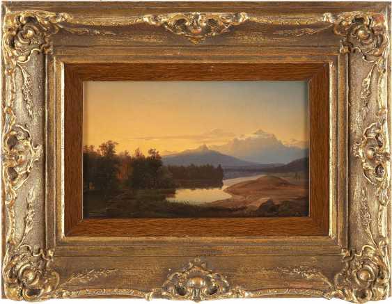SÜDDEUTSCHER LANDSCHAFTSMALER Tätig um 1850 Stiller Bergsee bei Sonnenuntergang - photo 2