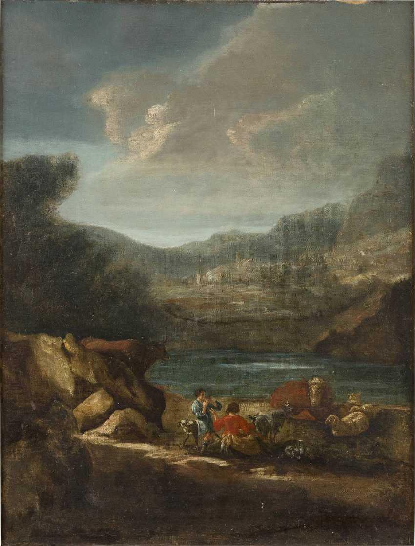 ENGLISCHER MALER Tätig im 18. Jahrhundert HIRTEN MIT VIEH AN DER FURT - photo 1