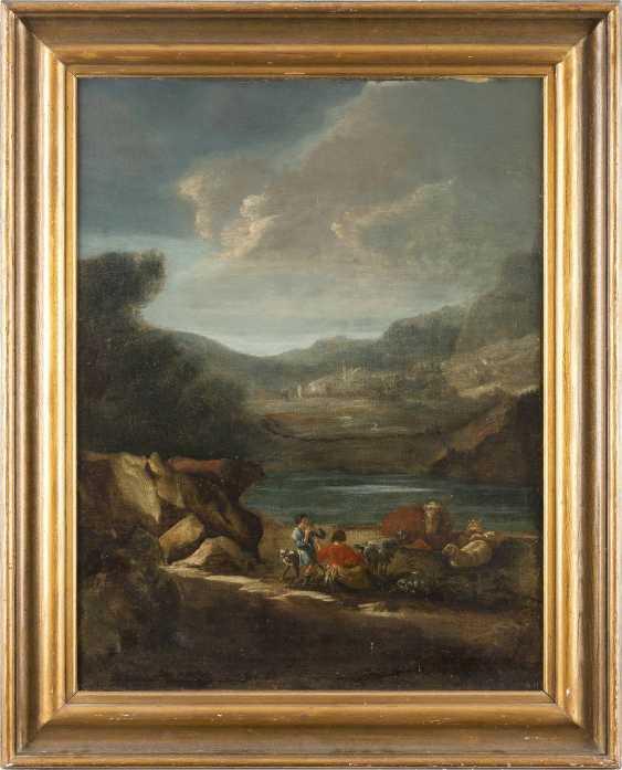 ENGLISCHER MALER Tätig im 18. Jahrhundert HIRTEN MIT VIEH AN DER FURT - photo 2