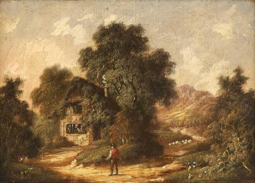 ROBERT WOODLEY-BROWN (ATTR.) Tätig im 19. Jh (Großbritannien) Gemäldepaar. Waldstück mit Bachlauf (1) und bewaldetes Cottage (2) mit Figurenstaffage - photo 1