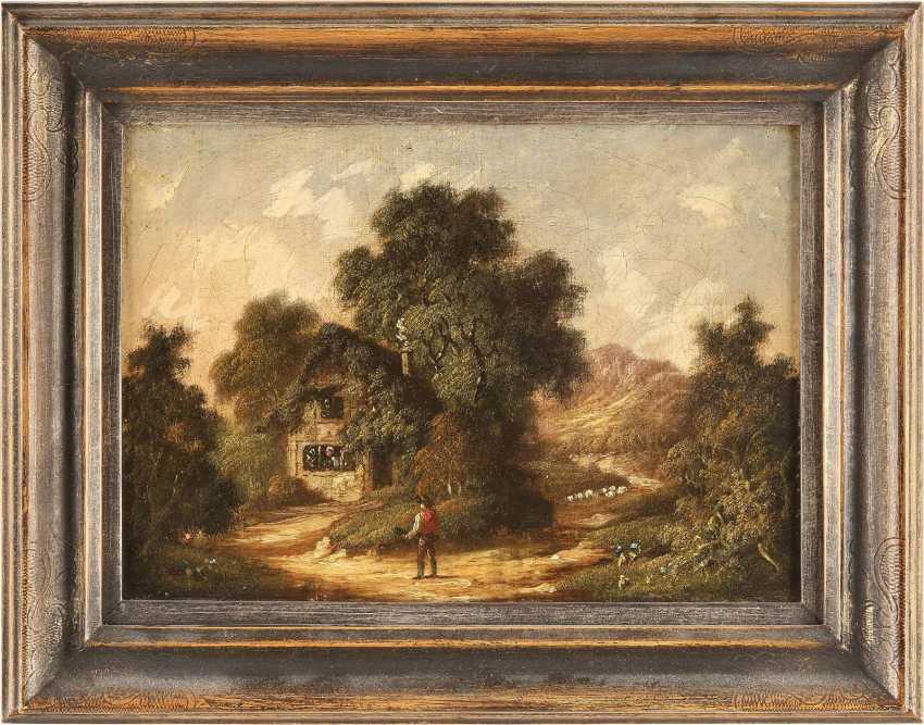 ROBERT WOODLEY-BROWN (ATTR.) Tätig im 19. Jh (Großbritannien) Gemäldepaar. Waldstück mit Bachlauf (1) und bewaldetes Cottage (2) mit Figurenstaffage - photo 2