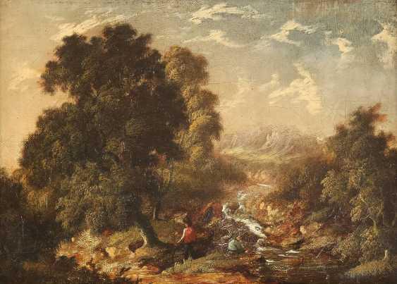 ROBERT WOODLEY-BROWN (ATTR.) Tätig im 19. Jh (Großbritannien) Gemäldepaar. Waldstück mit Bachlauf (1) und bewaldetes Cottage (2) mit Figurenstaffage - photo 3