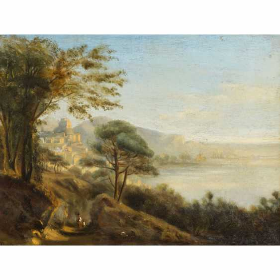 """MARIE or MARIA (indistinctly signed, artist 19th century), """"French coast with town on the mountain"""", - photo 1"""