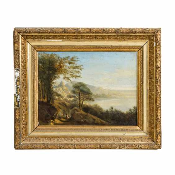 """MARIE or MARIA (indistinctly signed, artist 19th century), """"French coast with town on the mountain"""", - photo 2"""
