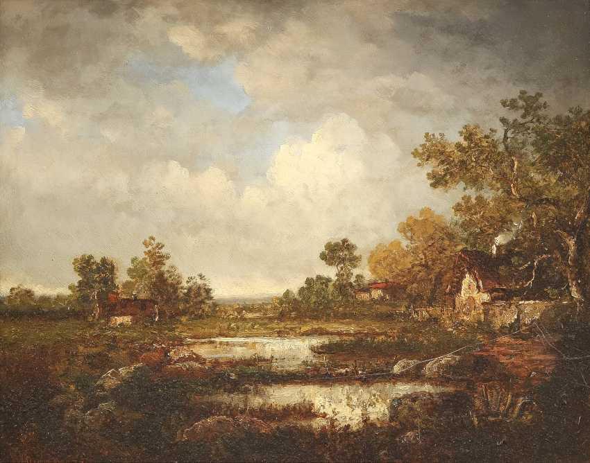 BRITISCHER LANDSCHAFTSMALER Tätig um 1870 Gewitterwolken über Cottages am Waldrand - photo 1