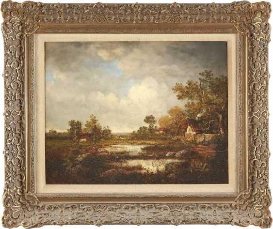 BRITISCHER LANDSCHAFTSMALER Tätig um 1870 Gewitterwolken über Cottages am Waldrand - photo 2