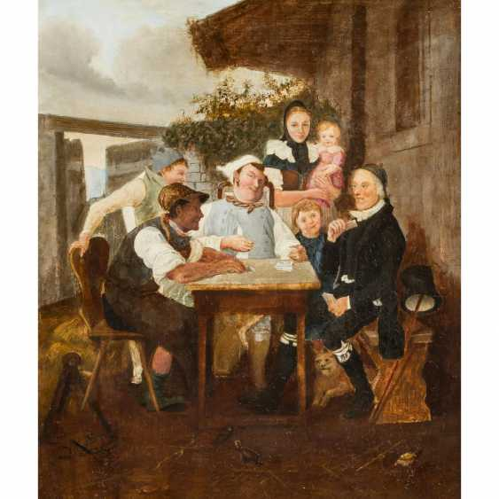 "PFLUG, Johann Baptist, UMKREIS (JBP: 1785-1865), ""Card player in front of the house"", - photo 1"