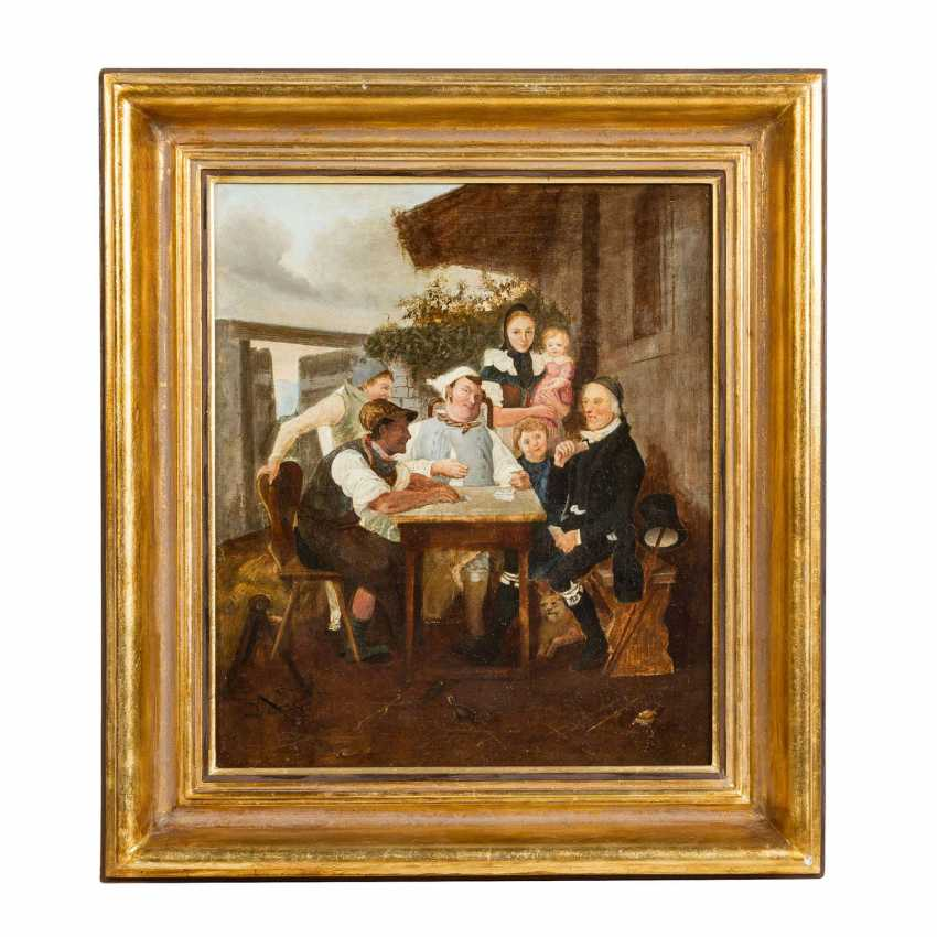 "PFLUG, Johann Baptist, UMKREIS (JBP: 1785-1865), ""Card player in front of the house"", - photo 2"